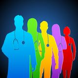 Team of Doctors. Illustration of team of colorful doctors with stethoscope Royalty Free Stock Photos