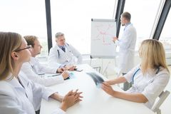Team of doctors discuss mental health. Concept at presentation in clinical office royalty free stock photo