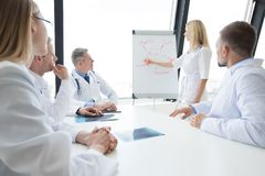 Team of doctors discuss mental health. Concept at presentation in clinical office royalty free stock image