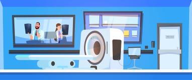 Team Of Doctors Examine Results von Mri scannend über Maschinen-Scanner-Hintergrund stock abbildung