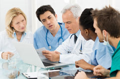 Team Of Doctors Examining Reports stock afbeelding