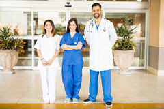 Team of doctors in a hospital entrance stock image