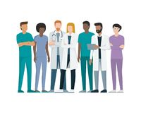 Team of doctors. Multiethnic team of doctor and nurses standing together, healthcare and medicine concept Royalty Free Stock Photo
