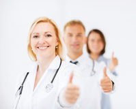 Team of doctors showing thumbs up Royalty Free Stock Photography