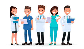 Team doctors on a white background. Vector illustration in a fla vector illustration