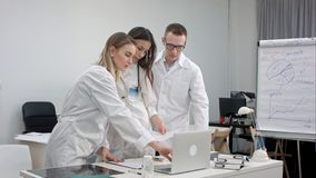 Team of doctors working on laptop and analyzing xray in medical office royalty free stock image