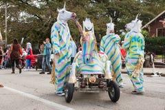 Team Dressed Like Unicorns Awaits Run At Soap Box Derby Stock Image