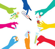Team with drugs. Colorful hands holding the drugs Royalty Free Stock Images