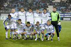 Team Dynamo (Kiev). Before the match against the backdrop of the stadium in Kiev Stock Image