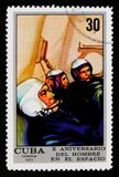 Team in een vluchtsimulator, 10 Jaar Crewed-Ruimtevlucht serie, Cubaanse circa 1971 Royalty-vrije Stock Afbeelding