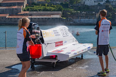 Team EMIC boat preparations Stock Photography