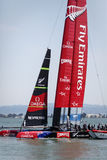 Team Emirates AC 72 Sail Boat, Louis Vuitton Cup race Royalty Free Stock Images