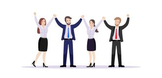 A team of employees hold hands rejoicing success. stock illustration