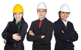 Team of engineers. A over white background Royalty Free Stock Photos