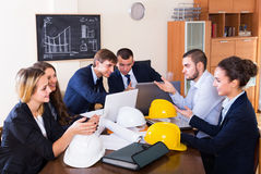 Team of engineers discussing business project Royalty Free Stock Photography