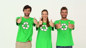 Team of environmental activists smiling at camera showing thumbs up stock video footage