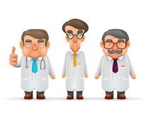 Team Experienced Fat Thin医生高髭玻璃听诊器3d现实漫画人物设计 图库摄影