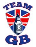 Team för tornklockan för GB stora Ben den Great Britain flaggan Royaltyfria Foton