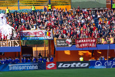 Team fans. Image with CFR Cluj fans on Piatra Neamt stadium. Romanian cup finals between CFR Cluj and Unirea Urziceni (2 - 1), 10 may 2008 Royalty Free Stock Photos