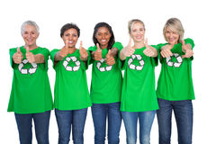 Team of female environmental activists giving thumbs up Royalty Free Stock Image