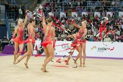 team of Finland on Rhythmic gymnastics Stock Photo
