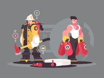 Team firefighters characters. Team firefighters in helmet and with fire extinguisher. Vector illustration Royalty Free Stock Photography
