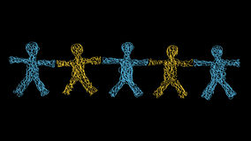Team of Five. Freehand Hand Drawn Silhouettes of Five People With Open Arms Holding Hands Stock Photo
