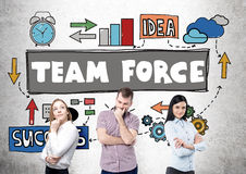 Team force concept. With european businesspeople on concrete background with drawing stock image