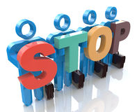 Team forming STOP word - Stock Image. In the design of information related to teamwork Royalty Free Stock Photo