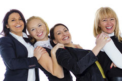 A team of four business women on a white background. Business wo Royalty Free Stock Image