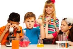Science kids team royalty free stock image