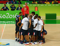 Team France celebrates victory after group A basketball match of the Rio 2016 Olympic Games against team Serbia Stock Images