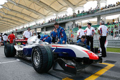 Team France on the starting grid. Sepang, MALAYSIA - 21 November: Team France's car at the starting grid on the tracks at the World A1 GP championship races held Royalty Free Stock Image