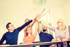 Team of friends showing unity with their hands together Royalty Free Stock Photography