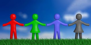 Four colorful human figures on grass, nature, holding hands, blue sky background. 3d illustration. Team, friendship concept. Four colorful human figures on grass Stock Photography