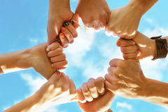 Team friendship teamwork hands concept Stock Photos