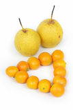 A team of fruits. Some fruits - a team - on a white background Stock Image