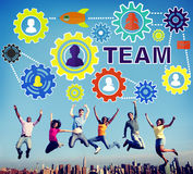 Team Functionality Industry Teamwork Connection-Technologie Concep royalty-vrije stock afbeelding