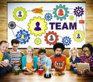 Team Functionality Industry Teamwork Connections-Technologie Lizenzfreie Stockfotografie