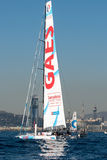 Team Gaes. Boat and Barcelona City Background. Barcelona World Race Royalty Free Stock Images