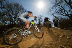 Team Garmin MTB Rider in corner Stock Image