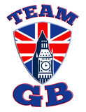 Team GB Big Ben tower clock Great Britain Flag Royalty Free Stock Photos