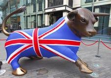 Team GB Bull Olympics 2012. Birmingham, England.  Landmark bull dressed in Olympic 2012 Team GB outfit.  May 2012 Royalty Free Stock Photography