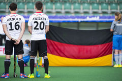 Team Germany with the flag during Hockey World Cup 2014 Stock Images