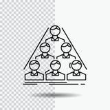 Team, Gestalt, Struktur, Geschäft, Linie Ikone auf transparentem Hintergrund treffend Schwarze Ikonenvektorillustration lizenzfreie abbildung