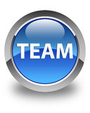 Team glossy blue round button Stock Image