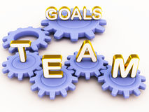 Team goals. Harmony or sync of a team to achieve goals as shown with cogs interlinked and working in perfect order Stock Image