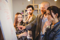 Team of graphic designer discussing chart on white board. In the office Stock Photo