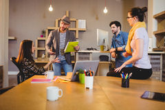 Team of graphic designers having a meeting stock photography
