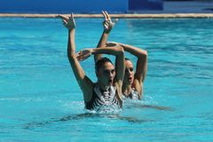 Team Greece in action during synchronized swimming duets free routine preliminary competition of the Rio 2016 Olympic Games. — Stock Photo #127117108nnRIO DE Royalty Free Stock Images